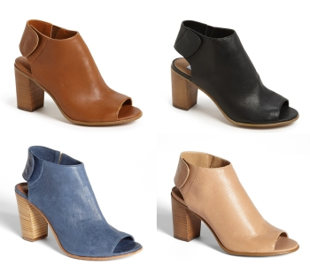 Steve Madden 'Nonstp' Bootie is a popular/basic sling-back open-toe bootie that comes in four perfect colors that can be paired super easily! $99.95 (true to size) (also extremely comfy)