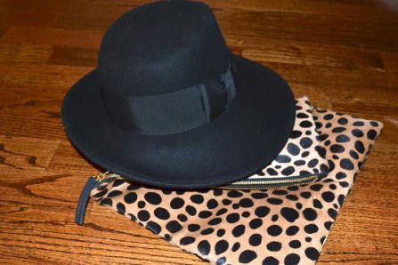 Clare V. Leopard-Print Fold-Over Clutch and Eric Javits Fedora