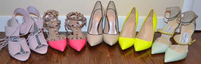 A few pairs of shoes from Whitney's impressive shoe collection! (left to right: Valentino, Kate Spade, Jimmy Choo)