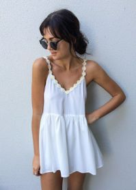 White Romper with daisy edging